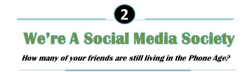 Infographic stating We're a Social Media Society, and the second reason to support why the internet is not dead. The image also asks How many of your friends are still living in the phone age?