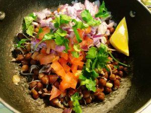Healthy black chickpea salad