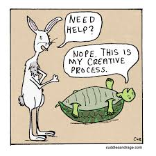 Writer's Block Cartoon of Hare and Tortoise.
