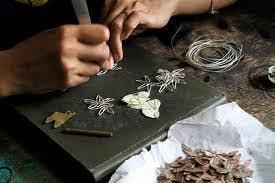 Traditional handmade silver artwork in Yogyakarta